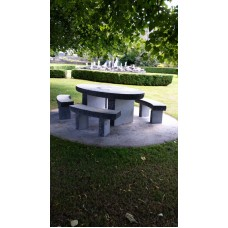 limestone oval table seating