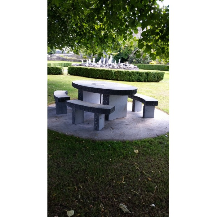 Limestone Bench Part - 48: Limestone Oval Table U0026 Seating