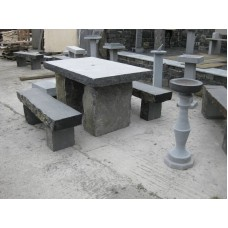 Limestone Square Table & Stone Benches