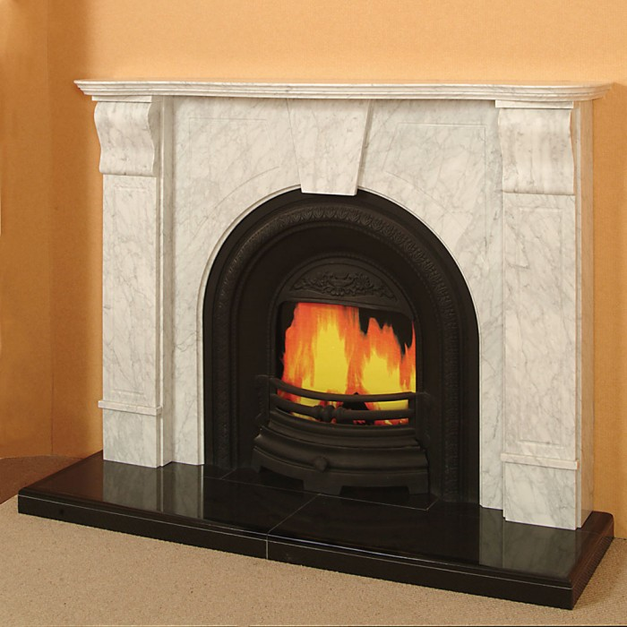 The adelaide a white marble fireplace made in ireland for Marble mantels for sale
