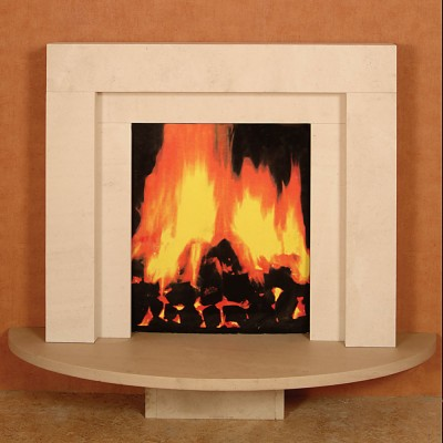 Wall Mounted Limestone Fireplace