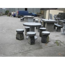 Limestone Round Table & Seating