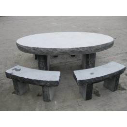 Limestone Oval Table & Seating