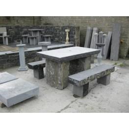 Limestone Square Table & Stone Benches